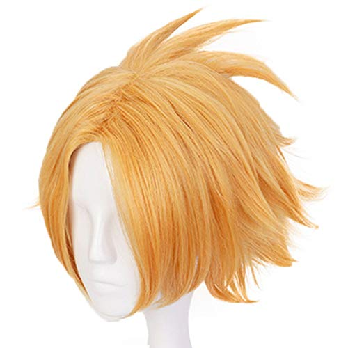 JoneTing Golden Yellow Wig Short Wavy Wigs for Men Synthetic Wigs for Hero Cosplay Wig