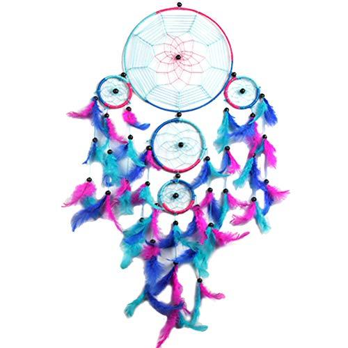 BDQZ Venta al por Mayor Colorido Cinco Anillos Dream Catcher decoración del hogar Arte asiático Dreamcatcher Anillo Cuerda Tela de araña Mimbre,Blue