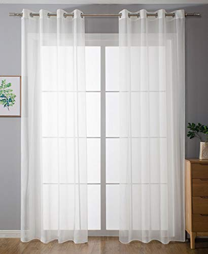 2er-Pack Ösen Gardinen Transparent Vorhang Set Wohnzimmer Voile Ösenvorhang Bleibandabschluß HxB 225x140 cm Weiß, 203322