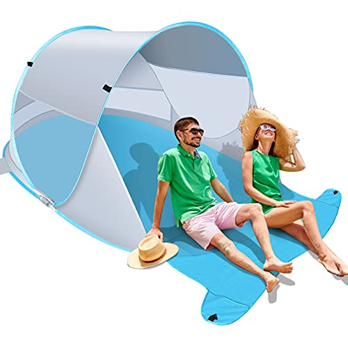 Felicigeely Beach Tent, Large Automatic Instant Pop Up Beach Shade, UPF 50+ Portable Sun Shelter Anti UV Beach Umbrella Baby Tent with Carrying Bag Fit for 2-3 Person