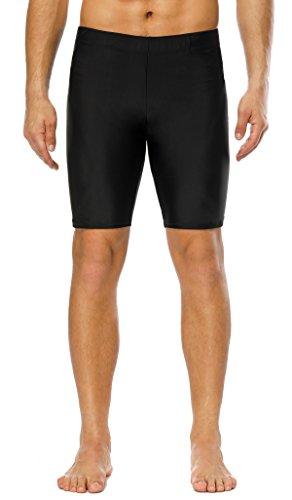 beautyin Jammer Swimsuit Men Endurance Long Racing Training Durable Swim Shorts Black