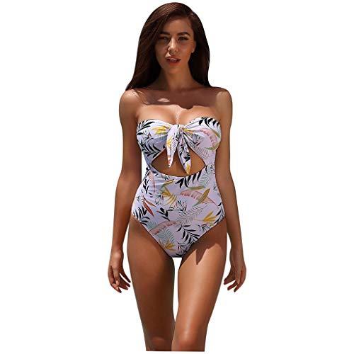 Eaylis Damen Bademode Sexy Einteilige Bikini Print Knot Strap Bandeau Rückenfreie Beachwear Badebekleidung Strandmode Sport Schwimmanzug