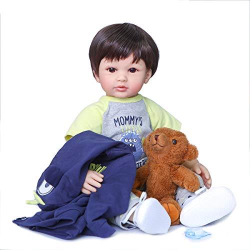 Zero Pam Realista Bebes Reborn Niños 24 Pulgadas 60 cm Reborn Baby Dolls Niño Pequeño con Ropa De 3-6 Meses Conjunto Guapo Niño Renacido Niño Muñecas Hechas A Mano Juguetes De Seguridad para Niños