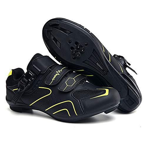 KOIJWWF Zapatos de Bicicleta de Carretera para Hombres, Zapatos de Ciclismo para Mujeres, Zapatos de Spinning, Bloqueo Antideslizante, Unisex para Adultos, Zapatos de Carreras atléticos,Naranja,42