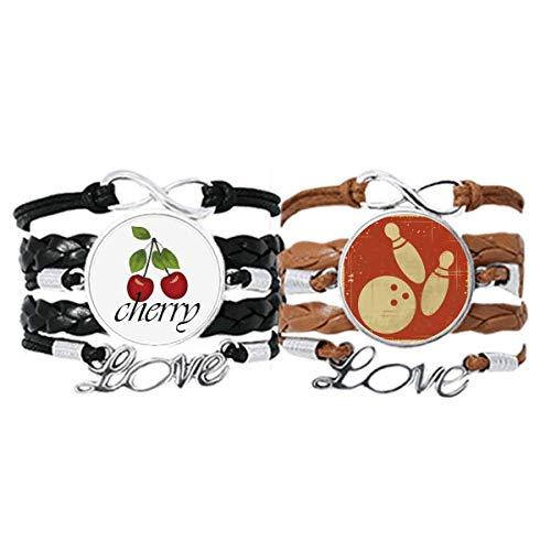 Bestchong Bowling Sport Illustration Rot Muster Armband Handschlaufe Leder Seil Cherry Love Armband Doppelset