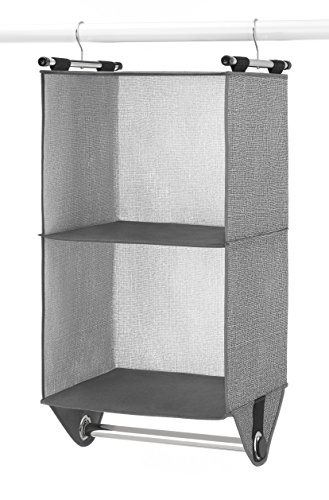 Whitmor 2-Section Closet Organizer - Crosshatch Gray