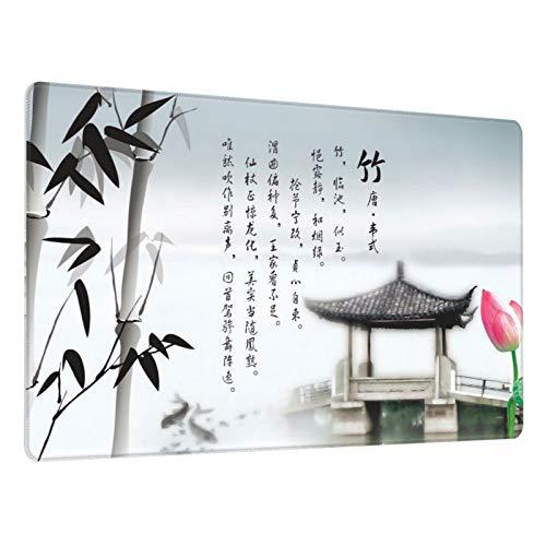 Alfombrilla de ratón para Juegos,Cuadro Chinoiserie Ink Bamboo Set,Escritura de Escritorio Impermeable de Goma Antideslizante para Oficina y hogar 800×300×3mm