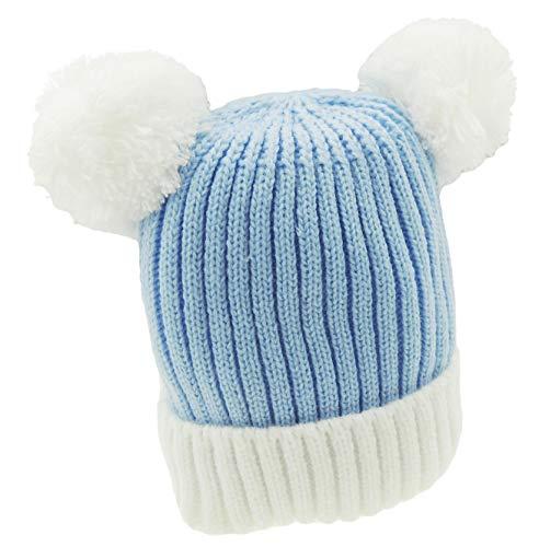 Glamour Girlz Bonnet super doux pour bébé fille garçon chaud en tricot côtelé double pompon pour bébé nouveau-né jusqu'à 12 mois (bleu blanc)