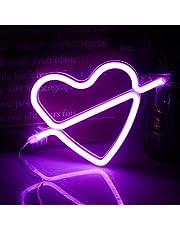Neon hjärtskyltar lila neon ljus skylt sovrum LED upplysta skyltar för vardagsrum bar heminredning flickor kvinnor gåva