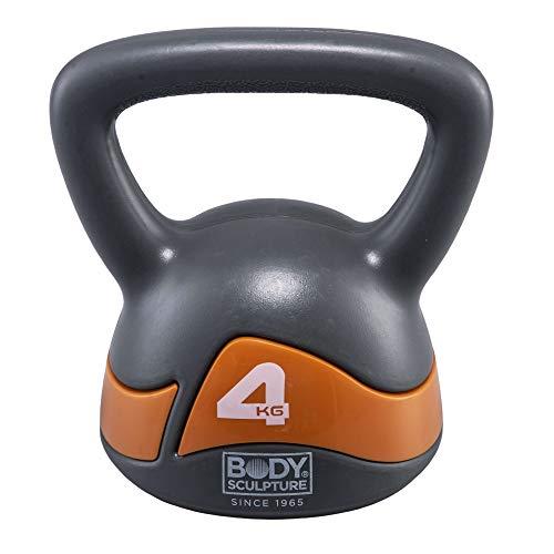 ボディスカルプチャー BODY SCULPTURE ケトルベル 4kg 錆びないPEコーティング 体幹 ファンクショナルトレーニング BW117-04 グレー・オレンジ