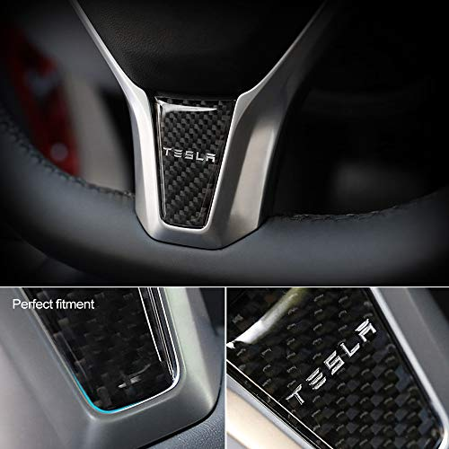 CKE Tesla Center Consoles Cover Sticker Trim Wrap Carbon Fiber Texture Decal Decoration For Tesla Model 3 5pcs