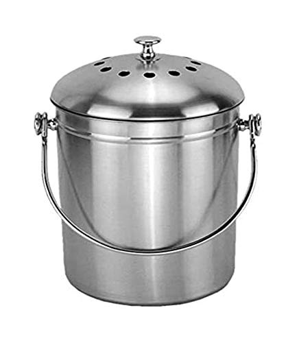 Lowest Prices! Waste Bins Stainless Steel Kitchen Compost Pail Indoor Countertop Kitchen Recycling B...