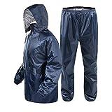 EER WEAR Men's Solid Bike/Scooter Waterproof Plain Rain Coat with Bag (Blue, Medium)