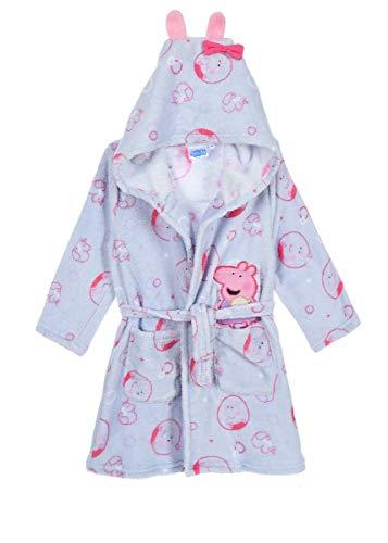 Peppa Wutz Pig Kinder-Bademantel Morgenmantel mit Kapuze, Farbe:Blau, Größe:116