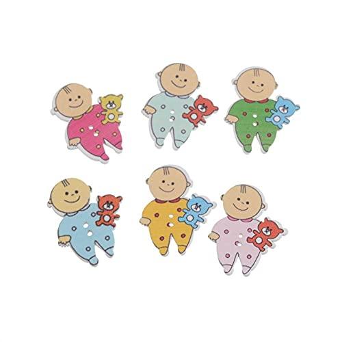 FSHB 10 Piezas al Azar Mezclado 2 Agujeros bebé Botones de Costura de Madera Scrapbooking 29x35mm