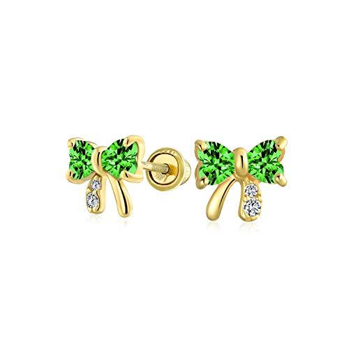 Zirconia Cúbico Diminuta Verde Esmeralda Simuladas CZ Lazo Pendiente De Boton 14K Yellow Gold Real Screwback