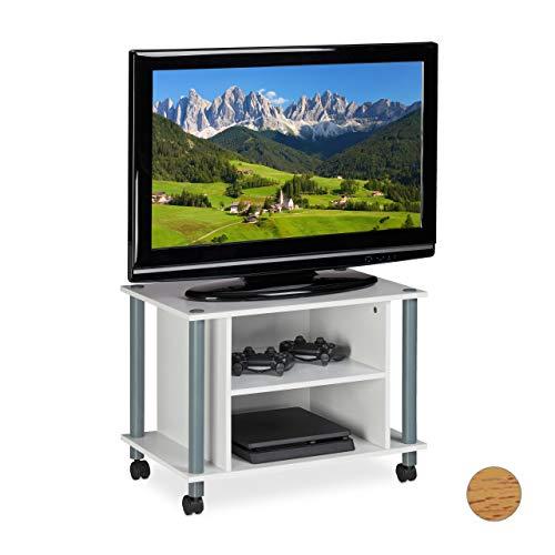 Relaxdays TV Tisch mit Rollen, 2 Fächer, Fernseher Ablage, Fahrbarer Fernsehtisch, HxBxT: 45 x 60 x 40 cm, weiß-Silber