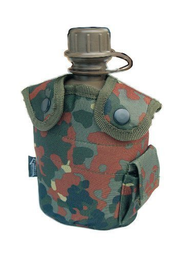 Gourde américaine style armée avec housse en tissu d'extérieur bouteille 0,8 l en différentes couleurs Camouflage
