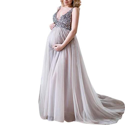 Vrouwen Zwangere Sling Lange Prom Maxi Jurk - Dames Sexy V-hals Mouwloos Effen Kleur Pailletten Party Jurken