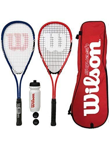 WILSON Auswirkungen Pro Squash Schläger Set + Bälle + Wasserflasche (Verschiedene Optionen) (Rot/Blau)