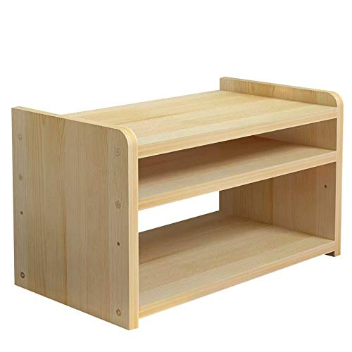 Wooden Desk Shelf, Small Desktop Bookshelf, Freestanding Bookcase, Tidy Literature Organizer for Home and Office Desks(50 * 38 * 35cm)