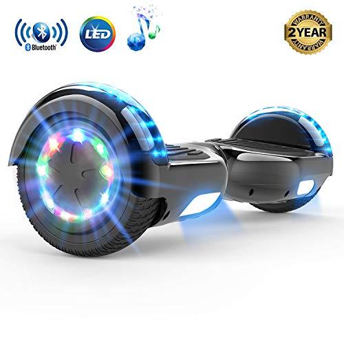 MARKBOARD Hoverboard da 6,5 Pollici per Bambini e Adulti, Smart Scooter Auto Bilanciamento Bluetooth Elettrico e LED Multicolor E-Skateboard Auto Balance (Black)