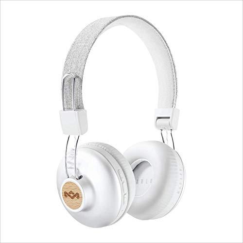 House of Marley Positive Vibration 2 Cuffie Bluetooth Wireless con Microfono, Diver da 40 mm, Design Confortevole On-Ear, Pieghevole, Bianco/Argento