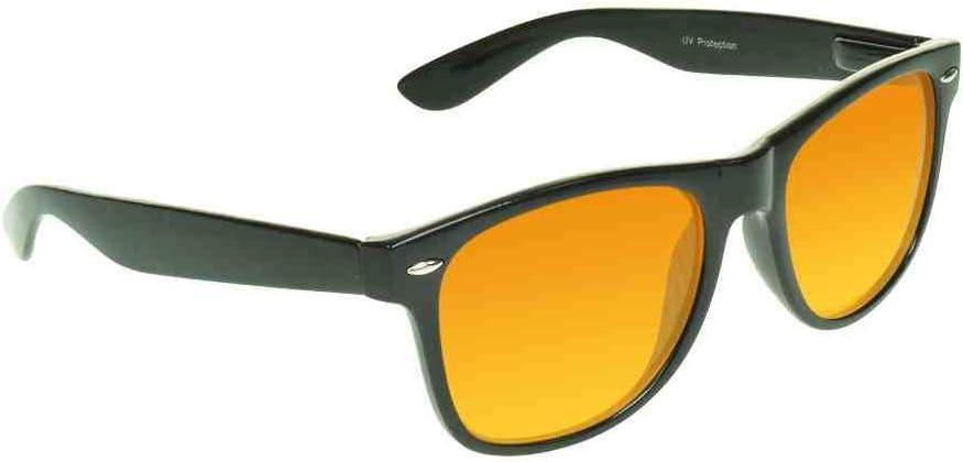 proSPORT Blue Light Blocker Glasses Sleep Better Computer Screen Orange Amber Lens Anti Migraine Black Horn Rimmed Fair Way Style