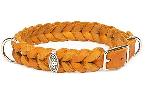 CopcoPet - Fettleder Halsband, Cognac, 15mm Breite, 25-29cm Halsumfang, geflochten mit Dornschließe, geflochtenes Hundehalsband, Handarbeit aus Deutschland, hochwertiges Rindsleder