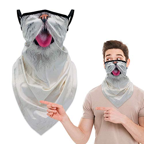 Neck Gators Face Mask with Ear Loops, 3D Animal Neck Gaiter Bandana Face Mask Washable Earloop Design, Face Coverings Headband Balaclava Ski Mask Scarf Shield for Men Women, White Cat Mask