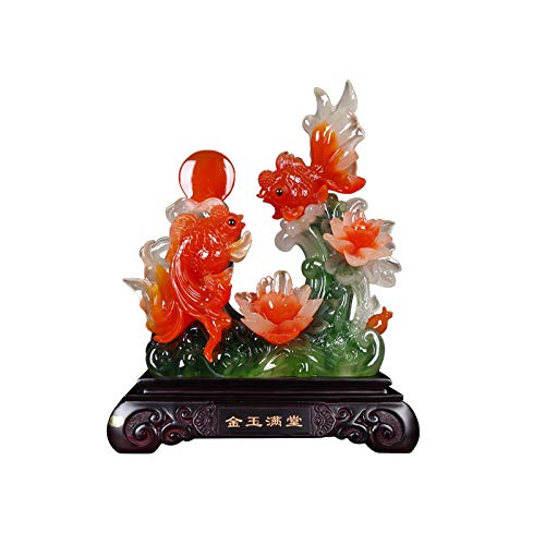 YIXIN2013SHOP Wealth Lucky Statue Feng Shui Vibrant Colorful Fish Lucky Figurine Home Decor Carp Home Office Decoration Tabletop Decor Ornaments Good Lucky Gifts Buddha Statue