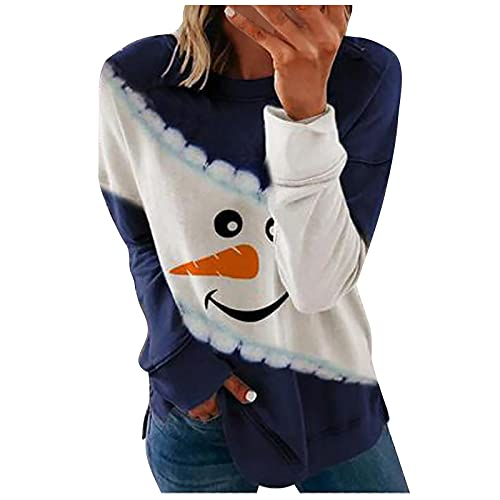 Crop Tops - Camiseta de manga larga para mujer, diseño de muñeco de nieve de Navidad, azul, S