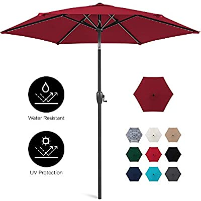 Best Choice Products 7.5ft Heavy-Duty Outdoor Market Patio Umbrella w/Push Button Tilt, Easy Crank Lift, Black