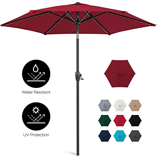 Best Choice Products 7.5ft Heavy-Duty Outdoor Market Patio Umbrella w/Push Button Tilt, Easy Crank Lift, Burgundy