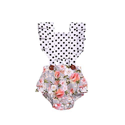 Milkiwai Mono de bebé de algodón 2019 Moda de Verano Recién Nacido Bebé niña Punto Floral Traje sin Mangas Ropa Trajes (Color : White, Size : 70)