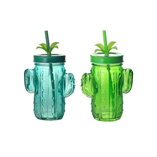 CAPRILO. Lote de 10 Vasos Decorativos de Cristal con Pajita Cactus. Vajillas y Complementos. Jarras.Regalos Originales para Niños y Niñas. Detalles para Comuniones, Cumpleaños, Bautizos y Boda