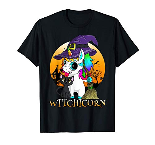 Bruja Unicornio Bruja Halloween Gato Negro Naranja Luna Camiseta