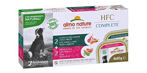 almo nature Hfc Complete Multi Pack -Mix Carni - (2 X Agnello Islandese con Carote - 2 X Prosciutto con Piselli) Cibo Umido Completo per Cani Adulti 85G X 4-400 g