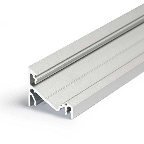 CORNER14 (CO14) | Ecke 2 Meter Aluminium | Eckprofil-Leiste eloxiert | für LED Streifen | Set inkl Abdeckung-Schiene milchig-weiß opal | mit Montage-Klammern und Endkappen (2 Meter milchig click)