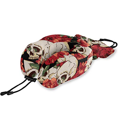 ALAZA Sugar Skull and Red Poppy Flowers Memory Foam Travel Pillow, U Shaped Pillow for Airplane Travel, Car, Home and Office