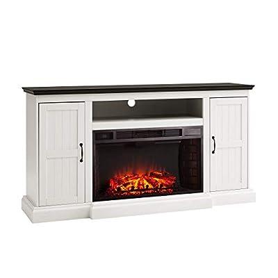 SEI Furniture Belranton Media Console Storage Fireplace, White/Black from Southern Enterprises