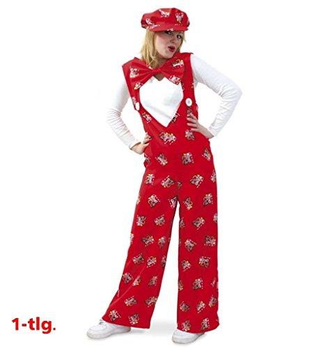 KarnevalsTeufel Latzhose Dom-Clown rot lang mit Dom-Motiven großer V-Ausschitt zum Knöpfen Clown Dom Köln Kölle Alaaf Hellau (Medium)