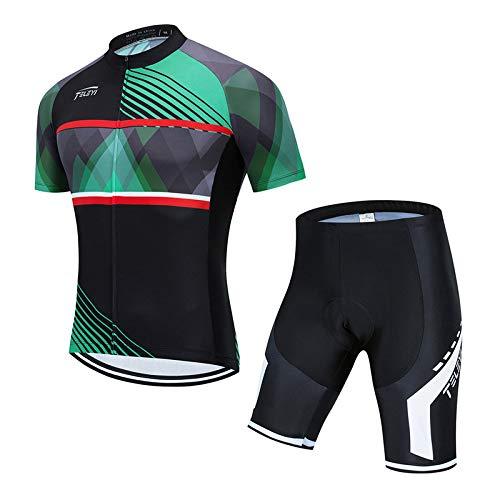 Hplights - Juego de ropa de ciclismo para hombre de secado rápido, ropa de verano MTB + pantalones cortos 3D de gel para asiento B, XXXL