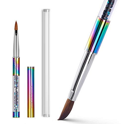 Shine Chance 100% Kolinsky Rainbow Rhinestone decorated in Handle Acrylic Brush Size 2#/4#/6#/8#/#10/#12/#14 Acrylic Brush Kolinsky Sable Nail Brushes (#06)