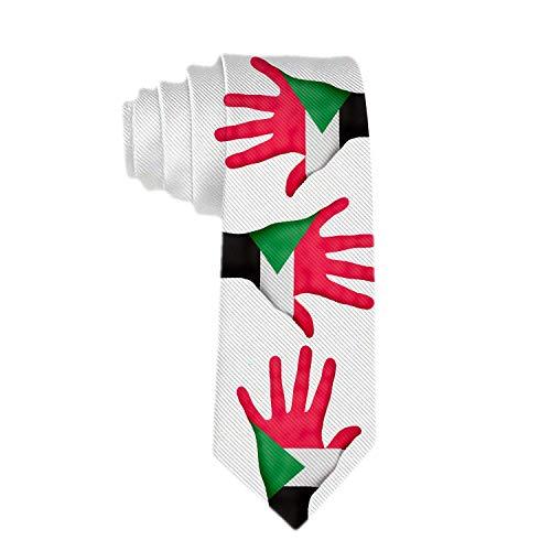 Corbata de mano de bandera de Sudán para hombre Corbata de poliéster Corbatas de cuello jacquard Regalo de novedad para hombre
