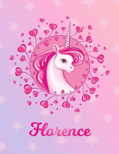 Florence: Unicorn Sheet Music Note Manuscript Notebook Paper | Magical Horse Personalized Letter A Initial Custom First Name Cover | Musician Composer ... Notepad Notation Guide | Compose Write Songs