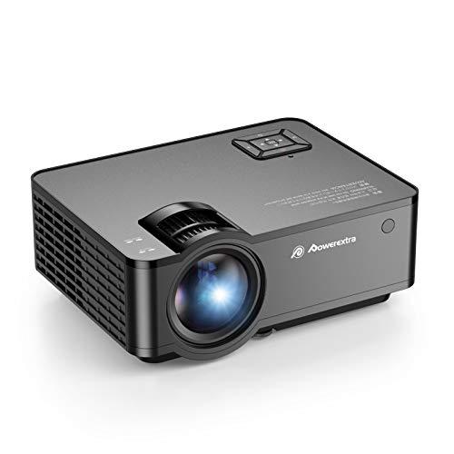 Powerextra Proyector WiFi, Projector Mini Portátil Full HD Nativo Cine en Casa Soporte 1080P, Proyector Bluetooth Pantalla 16:9 5500 Lúmenes Compatible con Chromecast/Xbox/PS4/PC/DVD/ TV Stick