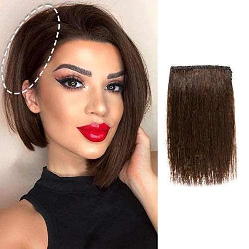 Mini Clip in Hair Pieces for Thinning Hair Real Remy Human Hair Extensions Thick One Piece Straight Double Weft Easy Use Invisible Hairpin Increase Women Men Hair Volume Puffy 4 inch#2 Darkest Brown