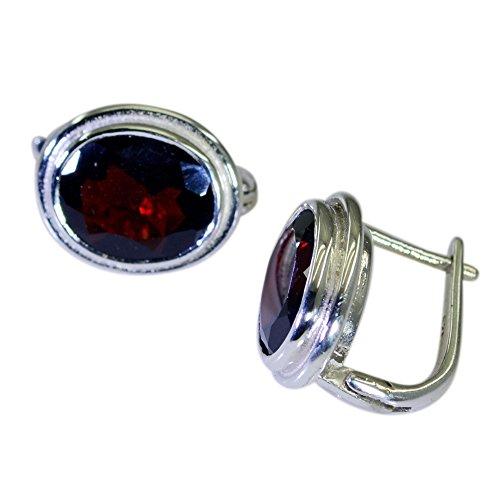 Gemsonclick Pendientes de gota de granate natural para mujer de plata astrológica forma ovalada joyería broche de cierre