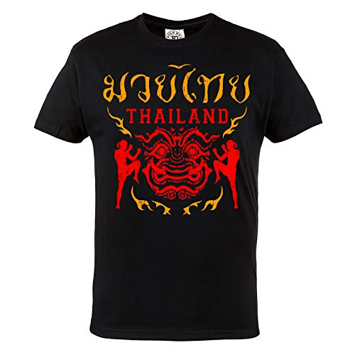 Rule Out Hombre Artes Marciales Camiseta. Thailand Muay Thai. Casual Wear(Taille Large)